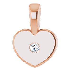 14K Rose .01 CT Diamond Youth Heart Pendant