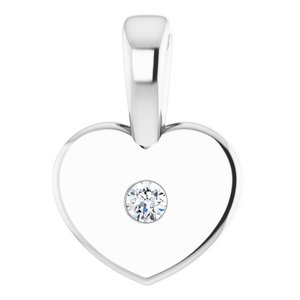 Sterling Silver .01 CT Diamond Youth Heart Pendant