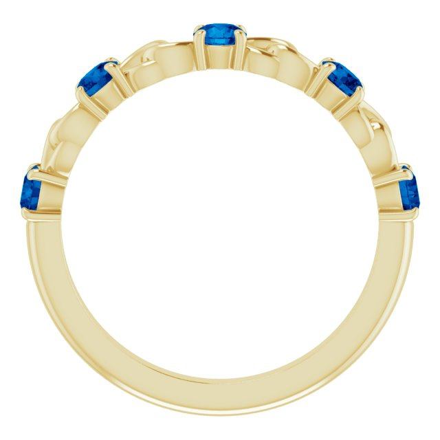 14K Yellow Blue Sapphire Stackable Link Ring