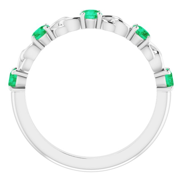 Sterling Silver Lab-Grown Emerald Stackable Link Ring