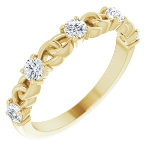 14K Yellow 1/2 CTW Diamond Stackable Link Ring