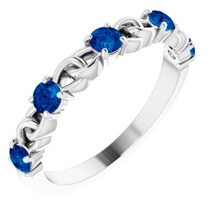 Sterling Silver Lab-Grown Blue Sapphire Stackable Link Ring