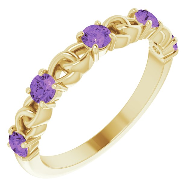 14K Yellow Amethyst Stackable Link Ring