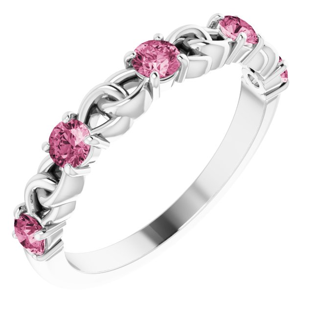 14K White Pink Tourmaline Stackable Link Ring