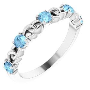 14K White Aquamarine Stackable Link Ring