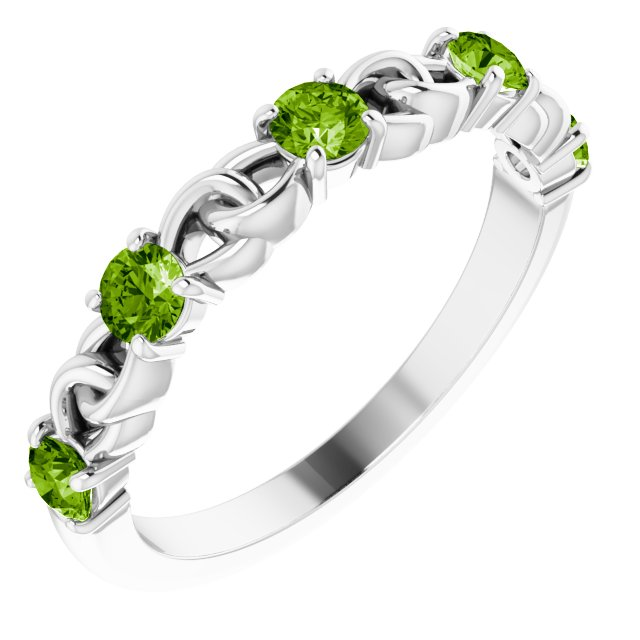 14K White Peridot Stackable Link Ring