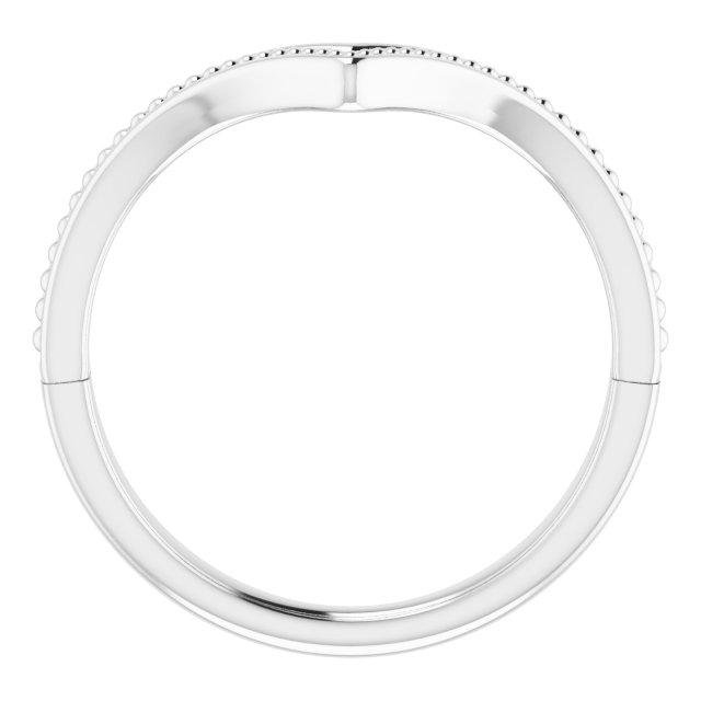 14K White Beaded V Ring