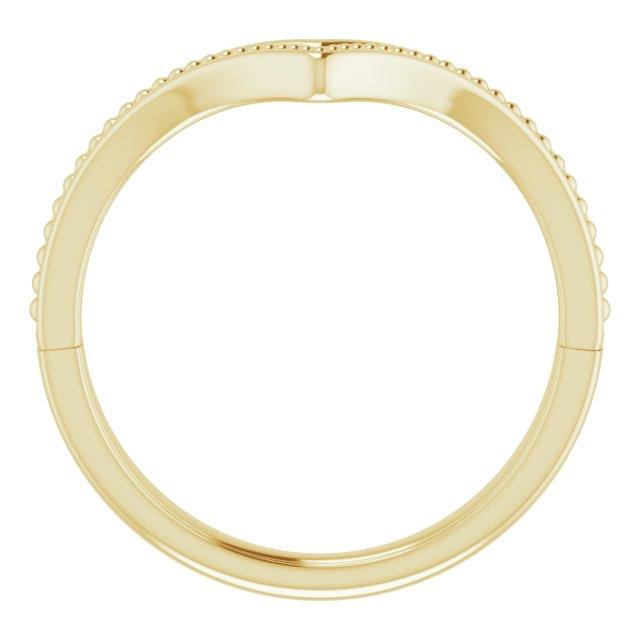 14K Yellow Beaded V Ring