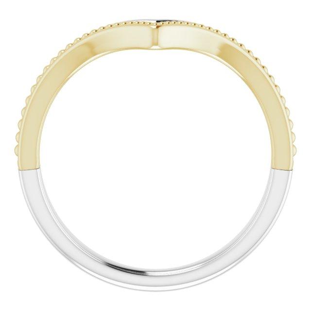 14K White & Yellow Beaded V Ring