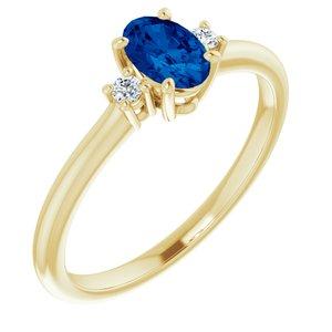 14K Yellow Chatham® Created Blue Sapphire & .04 CTW Diamond Ring