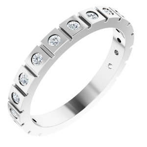 14K White 1/3 CTW Diamond Geometric Anniversary Band