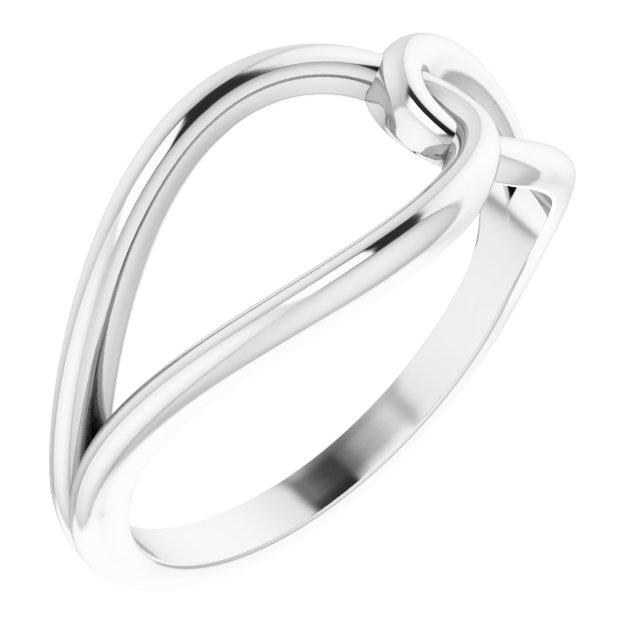 14K White Interlocking Circle Ring