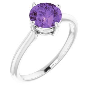 14K White Amethyst Solitaire Ring