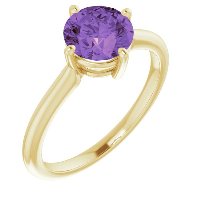 14K Yellow Amethyst Solitaire Ring