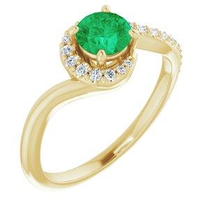 14K Yellow Lab-Grown Emerald & 1/6 CTW Diamond Ring