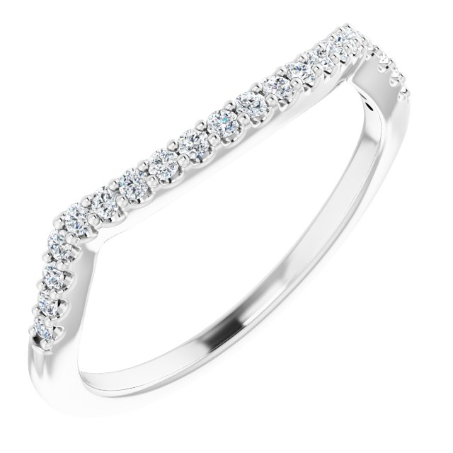 14K White 1/6 CTW Natural Diamond Band for 5.2 mm Round Ring