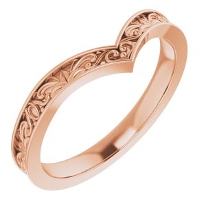 "14K Rose Vintage-Inspired ""V"" Ring"
