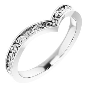 "Sterling Silver Vintage-Inspired ""V"" Ring"
