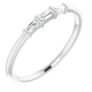 14K White 1/6 CTW Diamond Three-Stone Stackable Ring