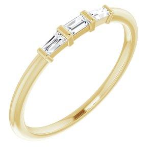 14K Yellow 1/6 CTW Diamond Three-Stone Stackable Ring