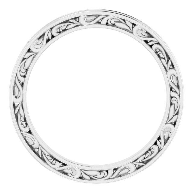 Platinum 2 mm Sculptural-Inspired Leaf Band   Size 7