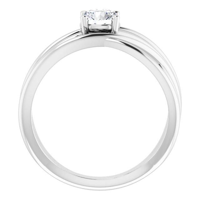 14K White 1/2 CT Diamond Solitaire Criss-Cross Ring