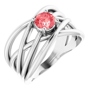 14K White 3/8 CT Lab-Grown Pink Diamond Solitaire Criss-Cross Ring