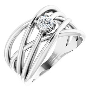 14K White 1/4 CT Diamond Solitaire Criss-Cross Ring
