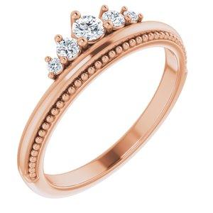 14K Rose 1/5 CTW Diamond Stackable Crown Ring