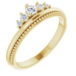 14K Yellow 1/5 CTW Diamond Stackable Crown Ring