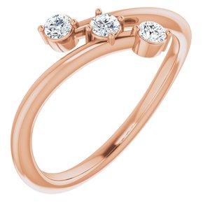 14K Rose 1/5 CTW Diamond Three-Stone Bypass Ring