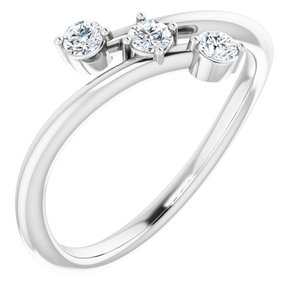 Sterling Silver 1/5 CTW Diamond Three-Stone Bypass Ring