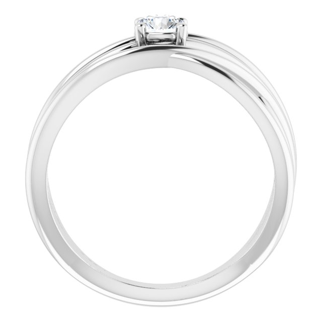 14K White 1/4 CT Diamond Solitaire Criss-Cross Ring