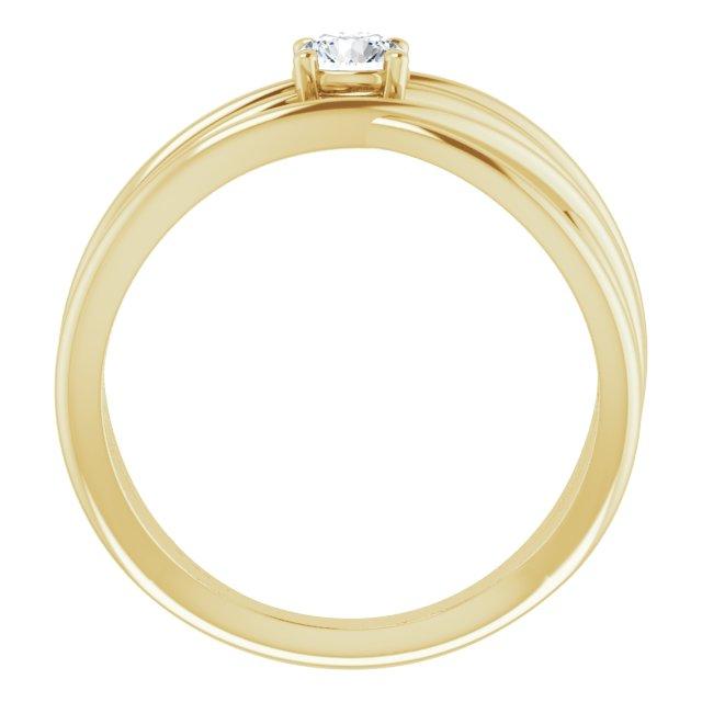 14K Yellow 1/4 CT Diamond Solitaire Criss-Cross Ring