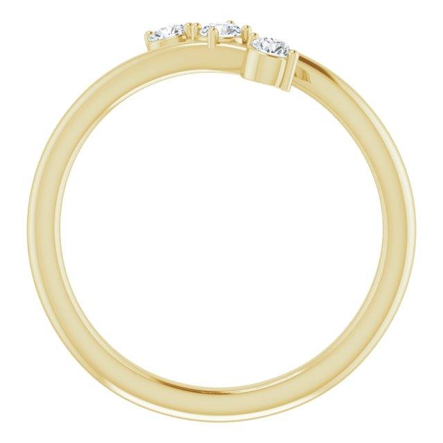14K Yellow 1/5 CTW Diamond Three-Stone Bypass Ring