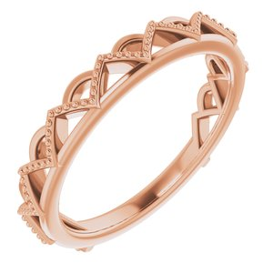 14K Rose Stackable Crown Ring