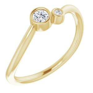 14K Yellow 1/8 CTW Diamond Two-Stone Ring