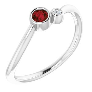 14K White Mozambique Garnet & .02 CTW Diamond Two-Stone Ring