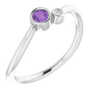 14K White Amethyst & .015 CTW Diamond Two-Stone Ring