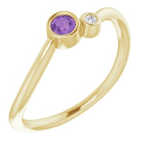 14K Yellow Amethyst & .02 CTW Diamond Two-Stone Ring
