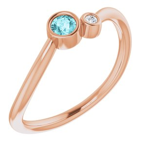 14K Rose Blue Zircon & .02 CTW Diamond Two-Stone Ring