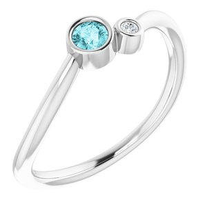 Sterling Silver Blue Zircon & .02 CTW Diamond Two-Stone Ring