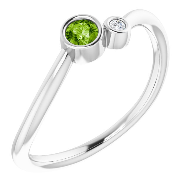 Sterling Silver Peridot & .015 CTW Diamond Two-Stone Ring