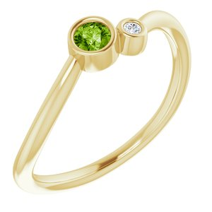 14K Yellow Peridot & .02 CTW Diamond Two-Stone Ring