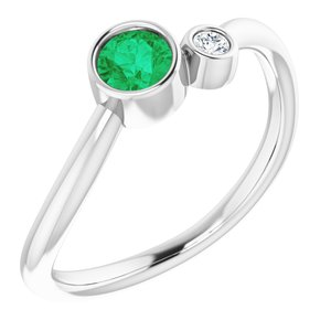 14K White Emerald & .03 CT Diamond Two-Stone Ring