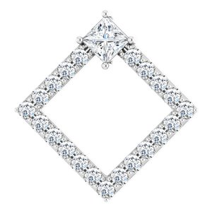 14K White 5/8 CTW Diamond Pendant