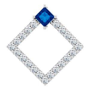 14K White Blue Sapphire & 3/8 CTW Diamond Pendant