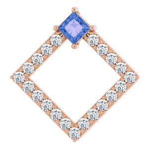14K Rose Tanzanite & 3/8 CTW Diamond Pendant
