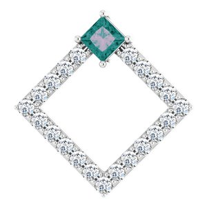 14K White Chatham® Lab-Created Alexandrite & 3/8 CTW Diamond Pendant