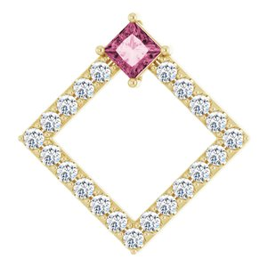 14K Yellow Pink Tourmaline & 3/8 CTW Diamond Pendant